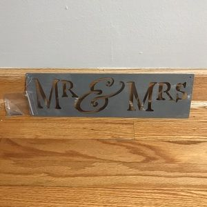 Mr. and Mrs. metal sign